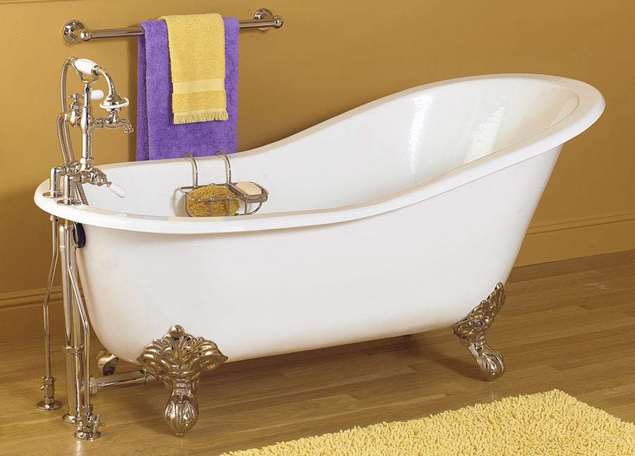 Exceptional White Clawfoot Tub On Wooden Floor Matched With Orange Wall For Bathroom  Decor Ideas