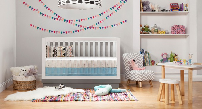 White Crib By Babyletto On Wooden Floor Plus Mini Chevron Toddle Chair On Wooden Floor Plus Carpet For Nursery Decor Ideas