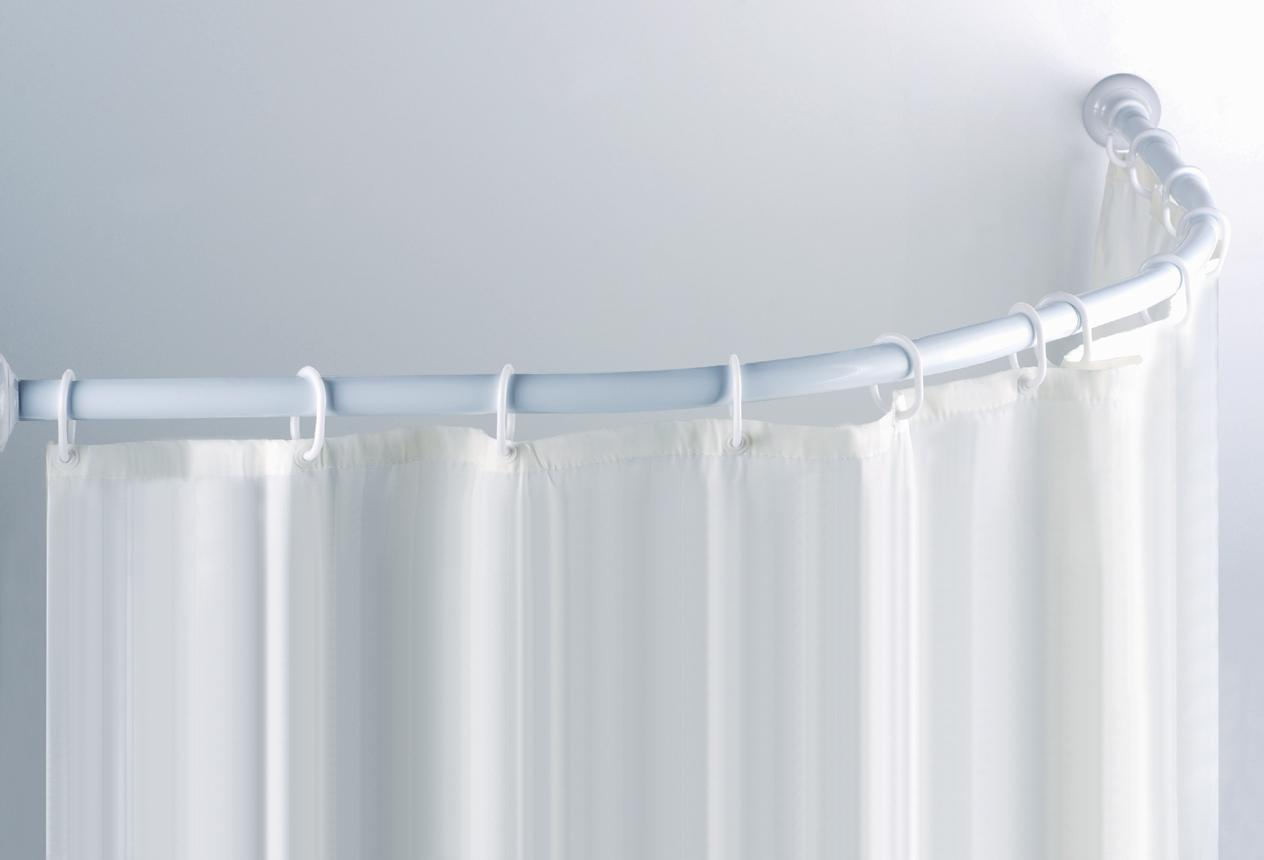 White Curved Shower Curtain Rod Matched With White Curtain And White Wall For Shower Decor Ideas