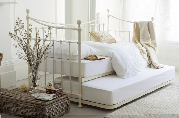 White Laura Ashley Bedding Plus Pillows With Cream Headboard Matched With White Wall For Bedroom Decor Ideas