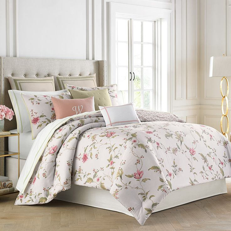 white laura ashley bedding with flower motif with pillows and wheat headboard for bed ideas