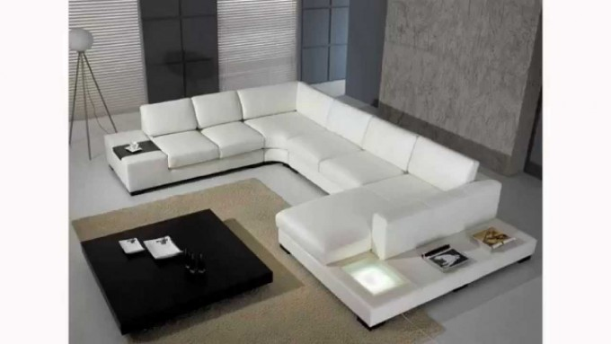 White Leather Cheap Sectional Sofas On White Ceramics Floor Plus Cream Carpet And Black Table For Living Room Decor Ideas