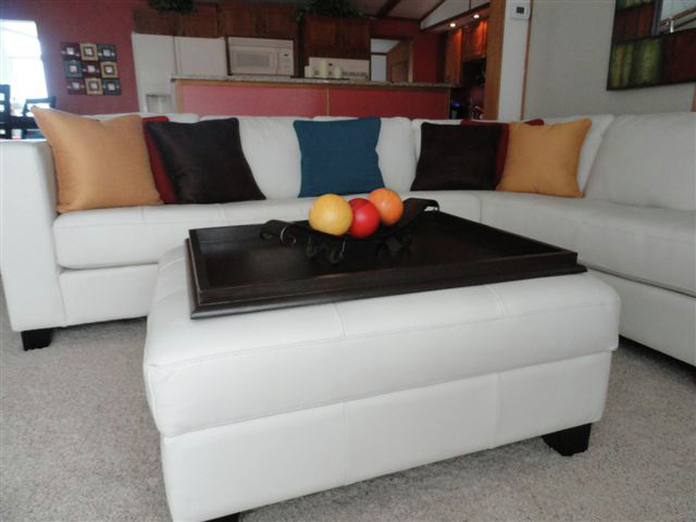 white ottoman with brown wooden large ottoman tray for home furniture ideas