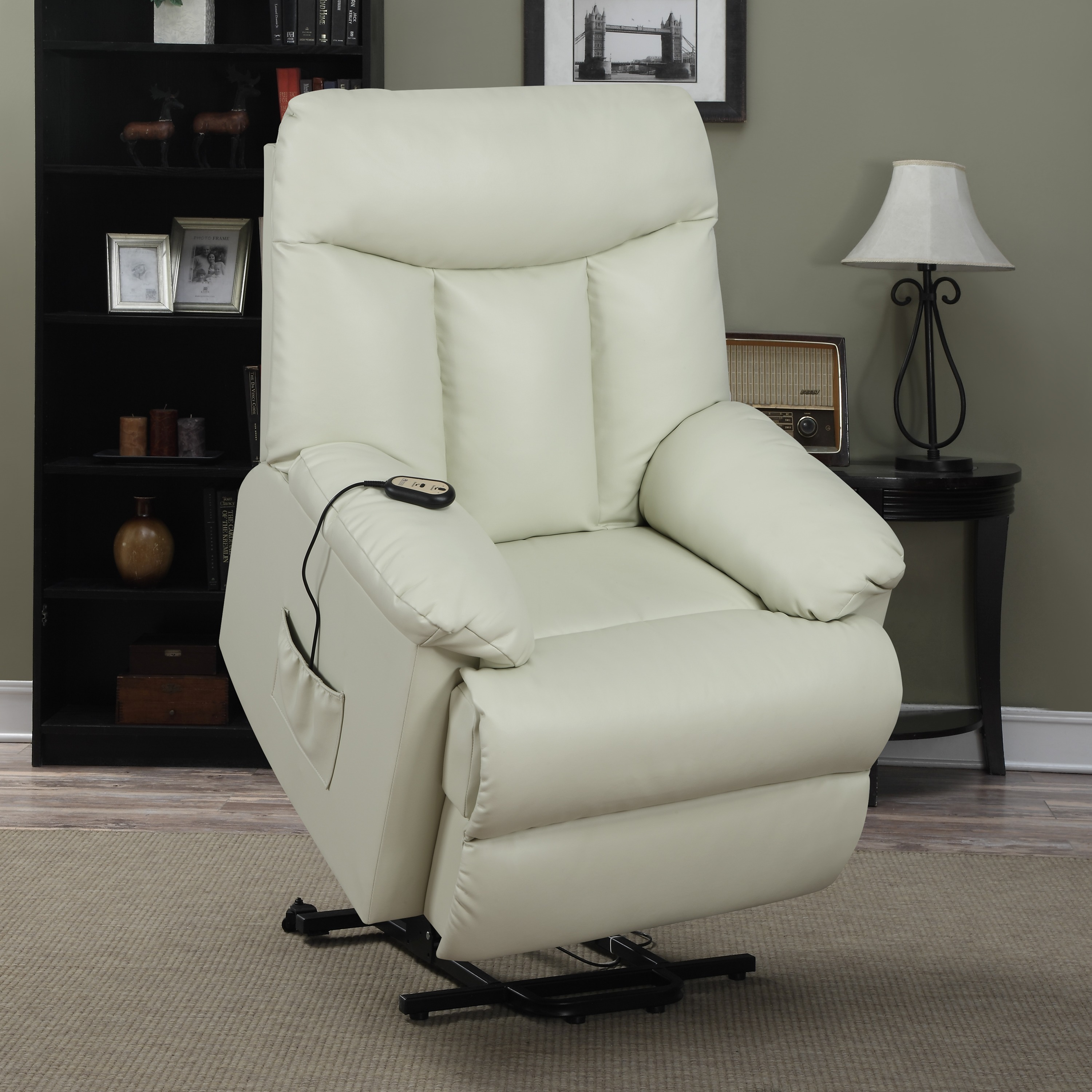 white power lift recliners on wheat carpet plus black tab;e with table standing lamp for living room decor ideas