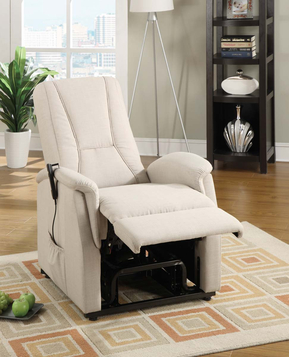 white power lift recliners on wooden floor with checked carpet for living room decor ideas