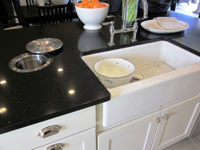 White Rectangle Apron Sink On White Wooden Kitchen Cabinet With Silver Faucet On Black Countertop For Kitchen Furniture Ideas