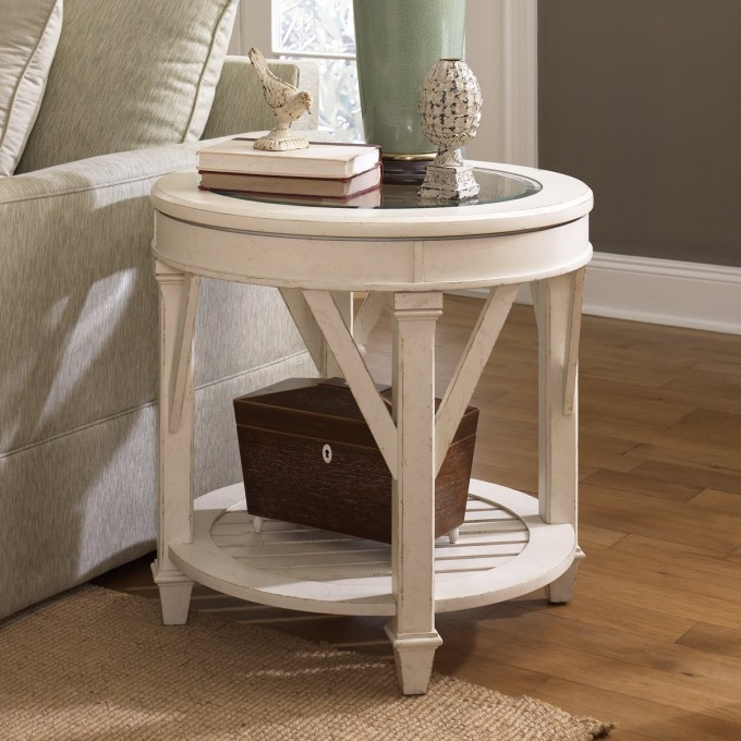 White Round Table With Glass Surface By Hammary Furniture For Living Room Furniture Ideas
