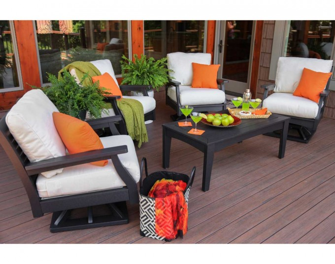 White Sunbrella Cushions On Black Rocker Sofa Matched With Black Wooden Table For Outdoor Living Room Decor Ideas