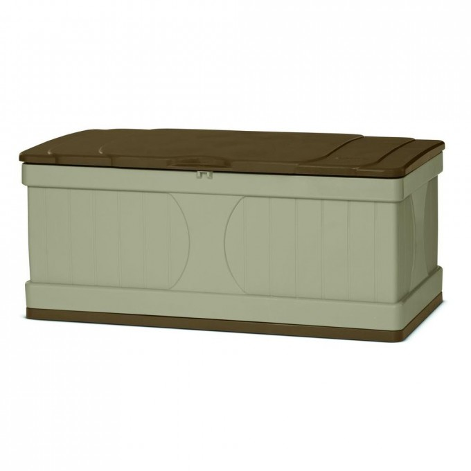 White Suncast Deck Box Ideas With Brown Top Or Seat And Brown On The Bottom For Patio Furniture Ideas