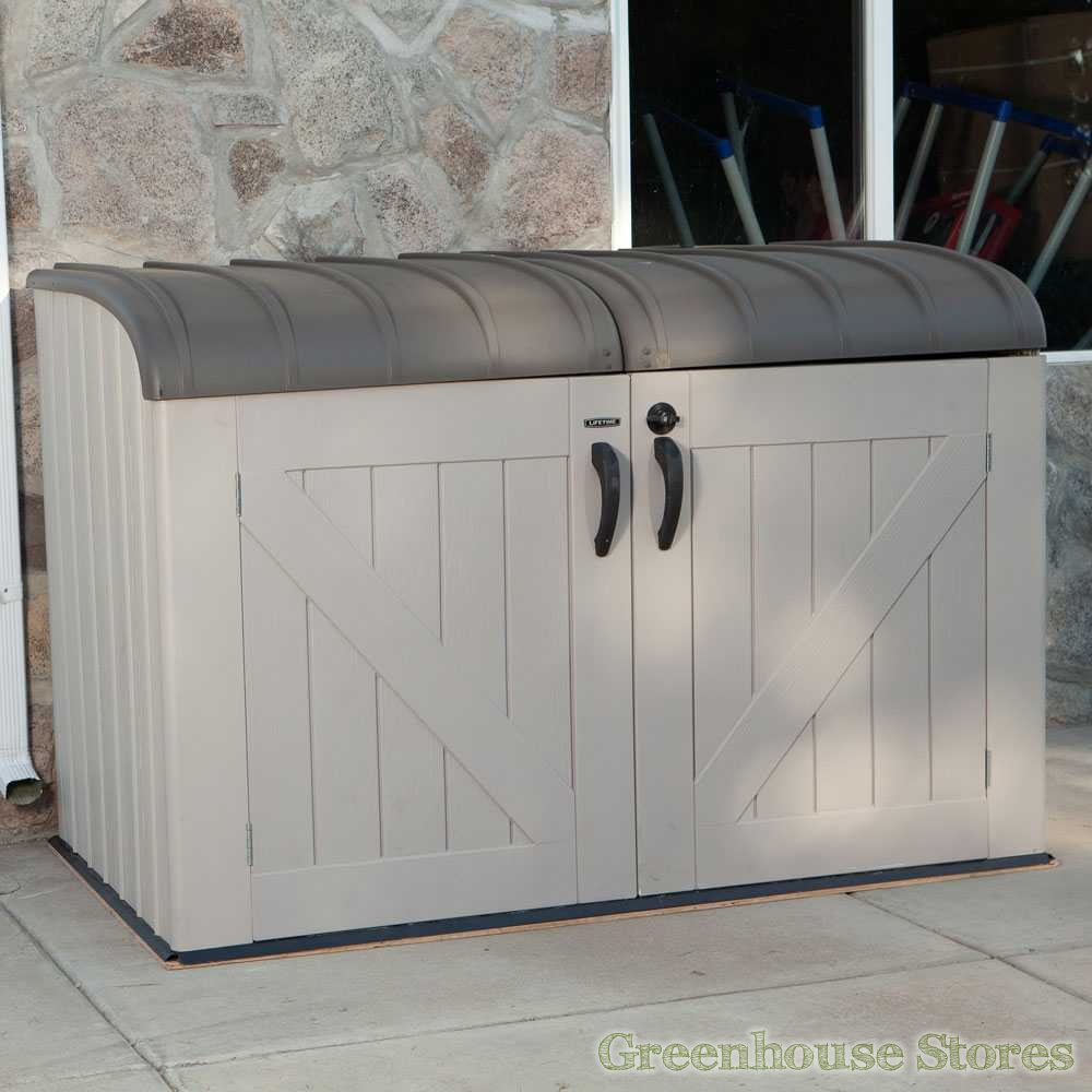 white Suncast Deck Box Ideas with grey top and black handle for patio furniture ideas