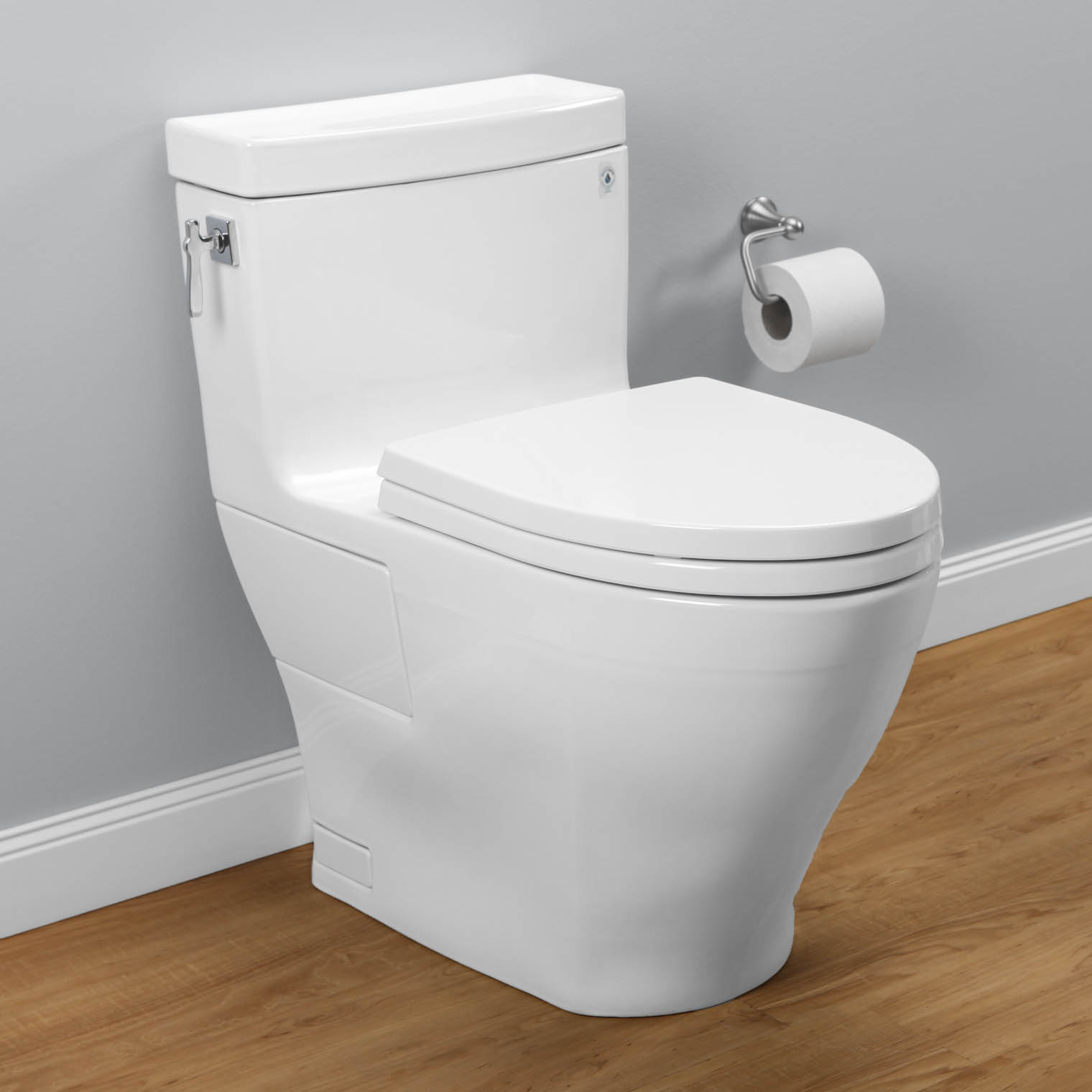 white Toto toilets MS626214CEFG 01 on wooden floor matched with grey wall plus white baseboard molding plus rolled tissue for toilet decor ideas