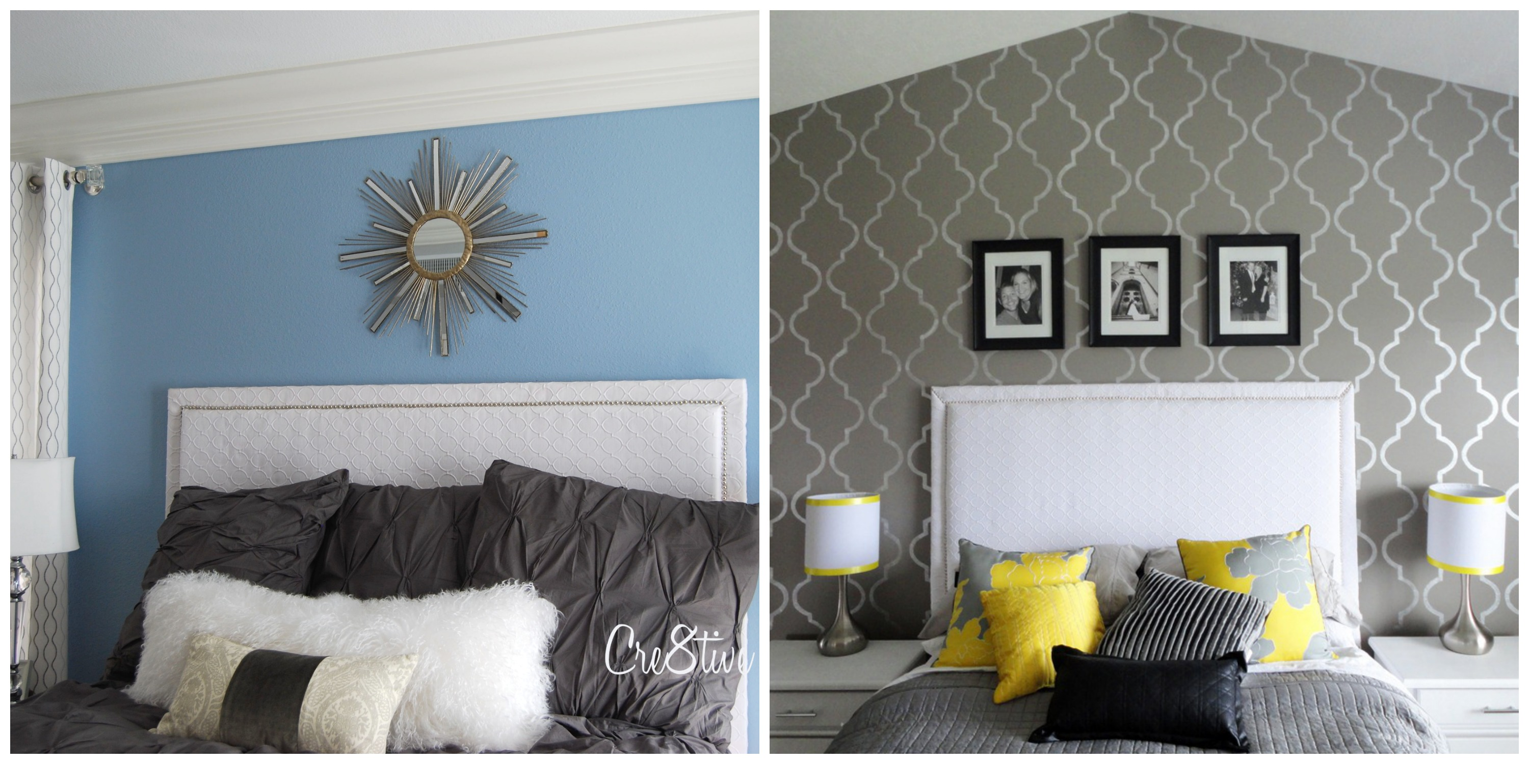 white upholstered headboards matched with gray bedding is one of good bed decor ideas