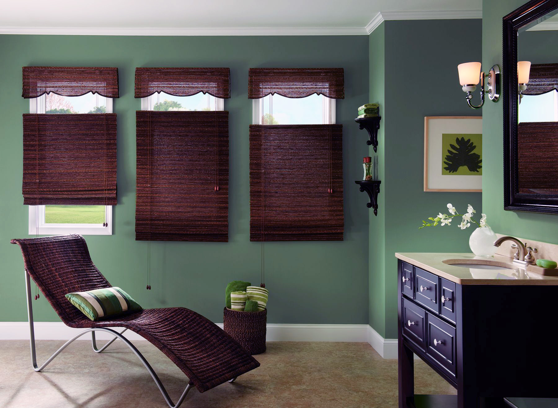 white window with brown bali blinds on green wall plus white baseboard molding for home interior design ideas