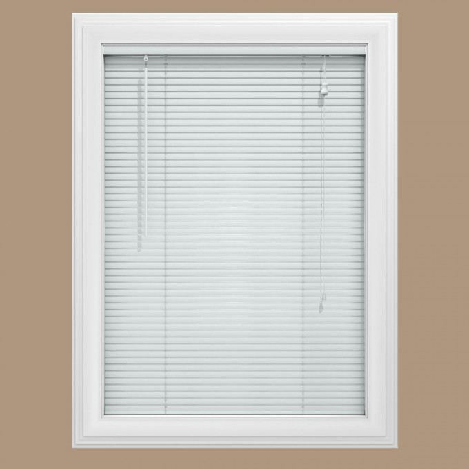 White Window With Horizontal White Bali Blinds On Tan Wall For Home Interior Design Ideas