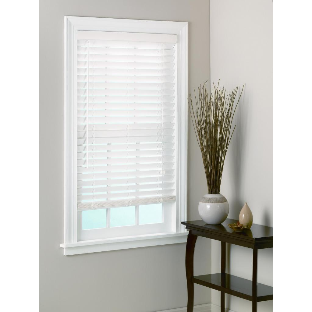 White Window With Horizontal White Bali Blinds On White Wall For Home Interior Design Ideas