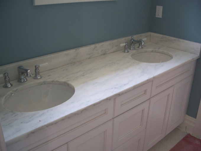 White Wooden Bathroom Vanities With Tops And Double Sinks And Double Faucets For Bathroom Furniture Ideas