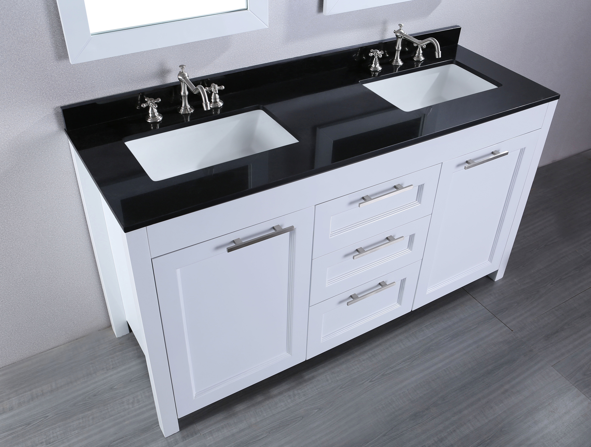 white wooden bathroom vanities with tops and double sinks and faucets on wooden floor for bathroom decor ideas