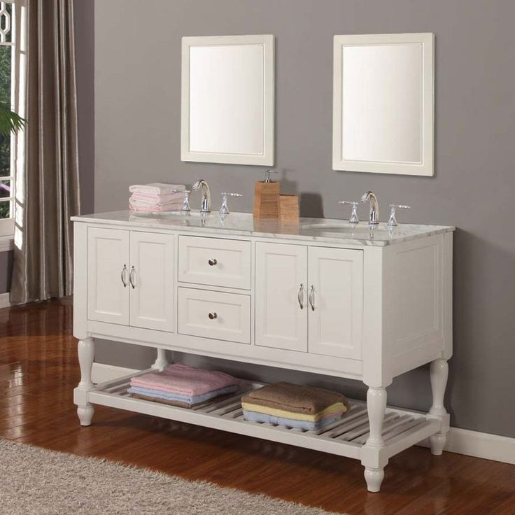 white wooden bathroom vanities with tops and double sinks and faucets on wooden floor matched with grey wall plus white baseboard molding plus double mirrors for bathroom decor ideas