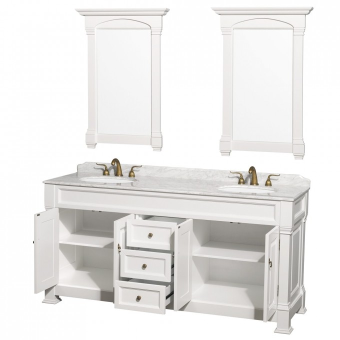White Wooden Bathroom Vanities With Tops And Double Sinks And Faucets Plus Double Mirror For Bathroom Decor Ideas