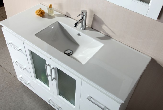White Wooden Bathroom Vanities With Tops And Single Sink And Faucet For Bathroom Furniture Ideas