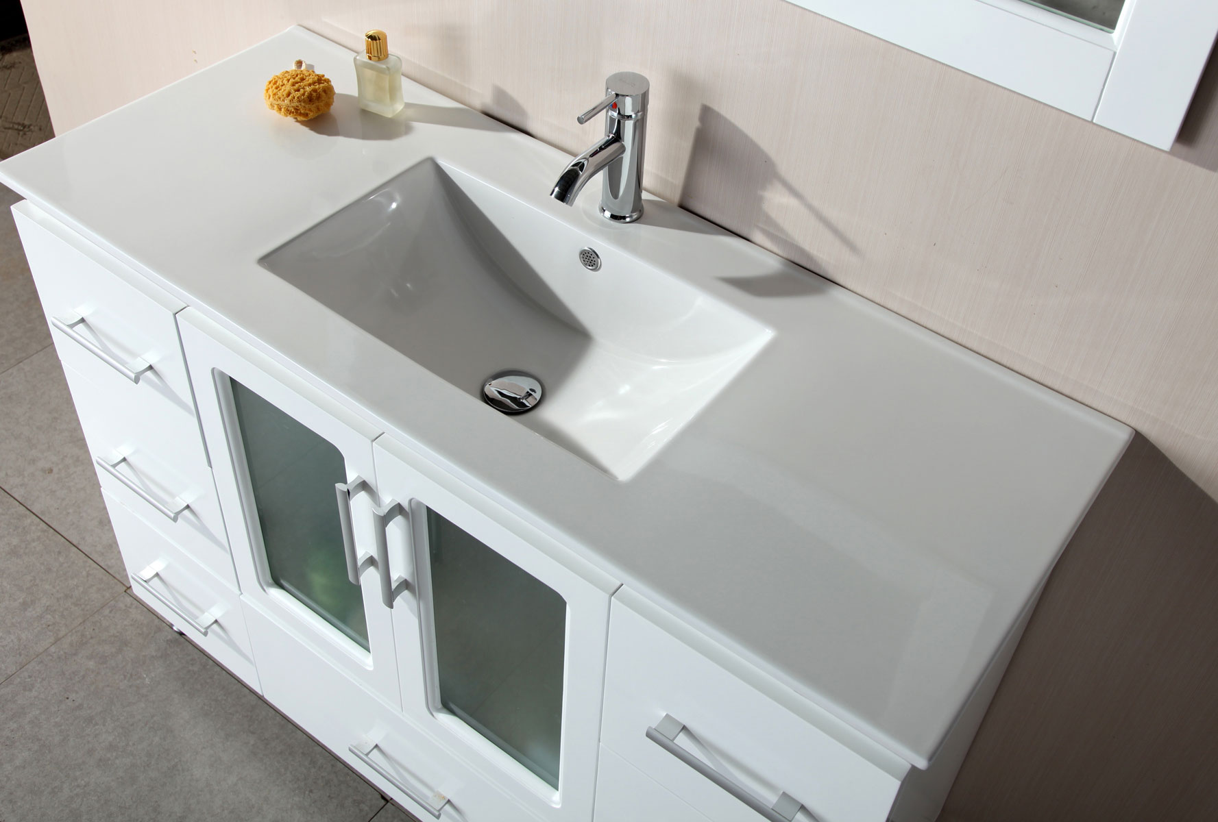 Bathroom White Wooden Bathroom Vanities With Tops And Single Sink