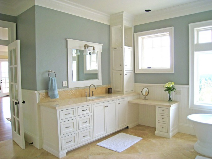 White Wooden Bathroom Vanities With Tops And Sink Plus Faucet On Cream Wall Matched With Blue Wall For Bathroom Decor Ideas
