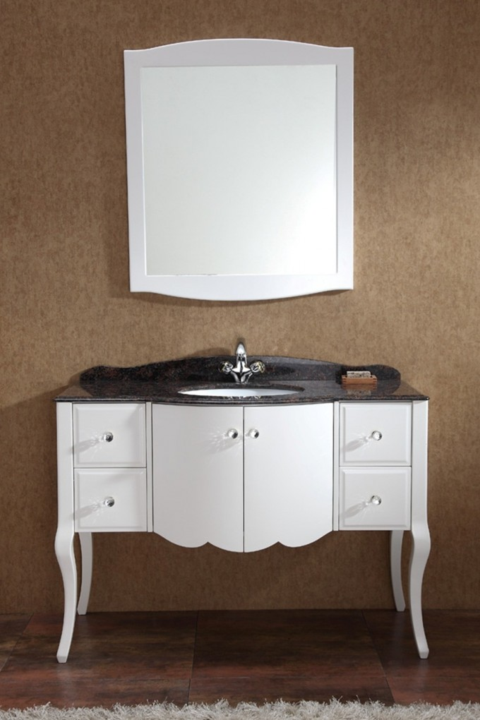 White Wooden Bathroom Vanities With Tops In Black And Single Sink Plus Single Faucet On Wooden Floor Matched With Orange Wall For Bathroom Decor Ideas