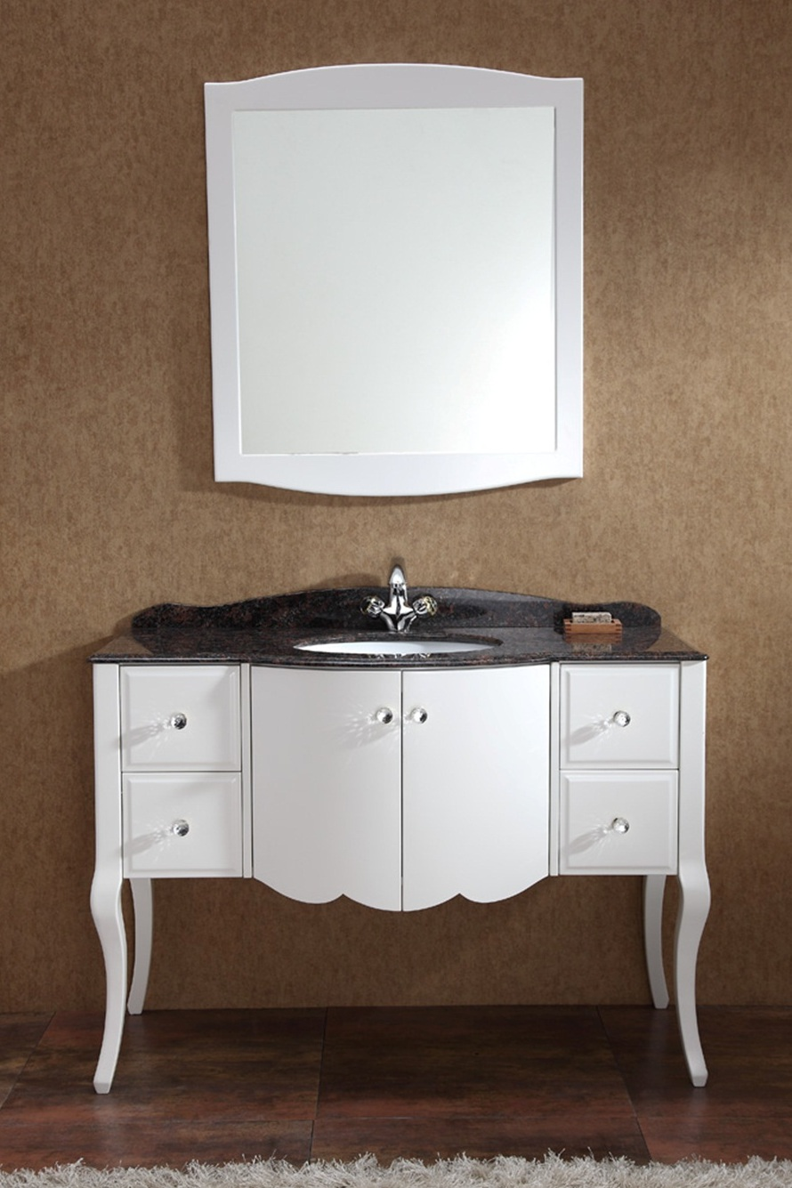 Perfect White Wooden Bathroom Vanities With Tops In Black And Single Sink Plus  Single Faucet On Wooden