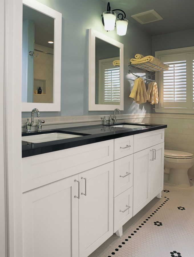 White Wooden Bathroom Vanities With Tops In Black Plus Double Sinks And Faucets On White Tile Floor Matched With Blue Wall Plus Mirror For Bathroom Decor Ideas
