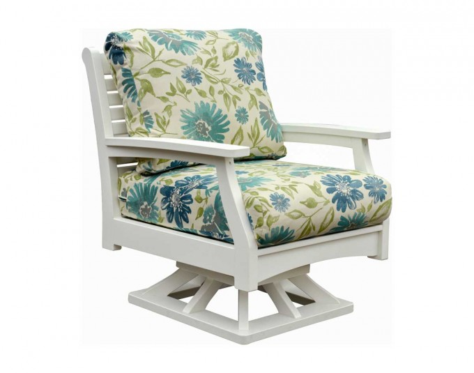 White Wooden Chair With Floral Sunbrella Cushions Seat Forcharming Home Furniture Ideas