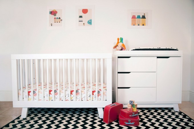 White Wooden Crib By Babyletto On Black And White Chevron Carpet Matched With White Wall Plus White Cabinet For Lovely Nursery Decor Ideas