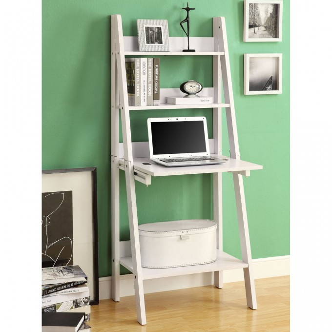 White Wooden Ladder Bookshelf With Laptop Stand On Wooden Floor Matched With Green Wall Plus White Baseboard Molding For Home Decor Ideas