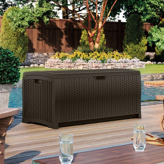 Wicker Suncast Deck Box Ideas In Black On Wooden Deck Near The Swimming Pool Plus Chairs For Inspiring Patio Decor Ideas