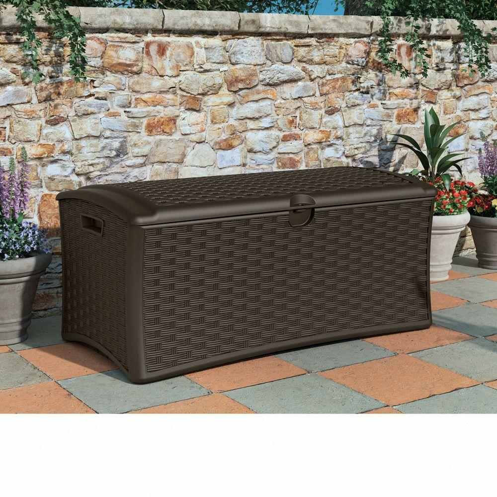 wicker Suncast Deck Box Ideas in brown for outdoor furniture ideas