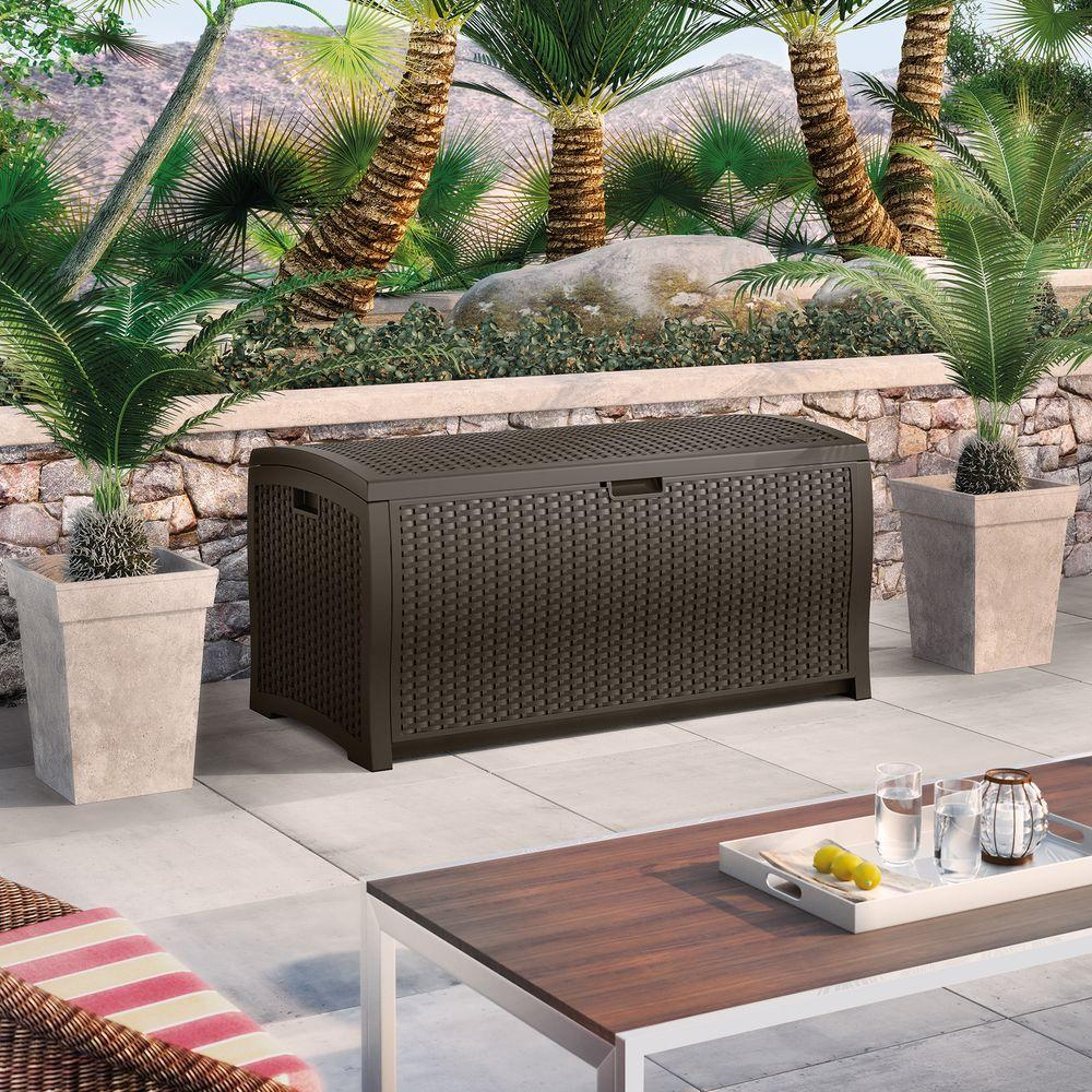 wicker Suncast Deck Box Ideas in dark brown on white flooring plus outdoor sofa set for patio decor ideas