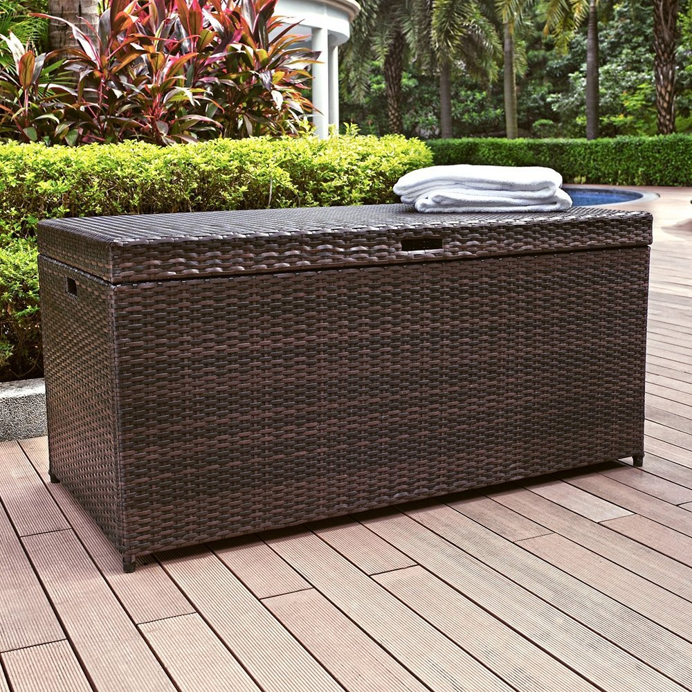 wicker Suncast Deck Box Ideas in dark brown with seat for patio furniture ideas