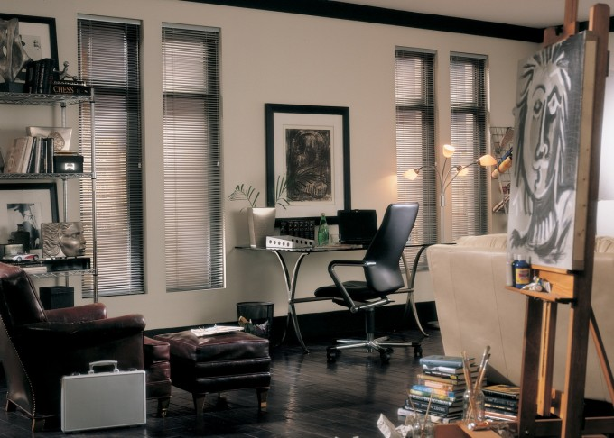 Window Decor With Levolor Blinds On Cream Wall Matched With Black Wooden Floor Plus Desk And Sofa For Family Room Decor Ideas