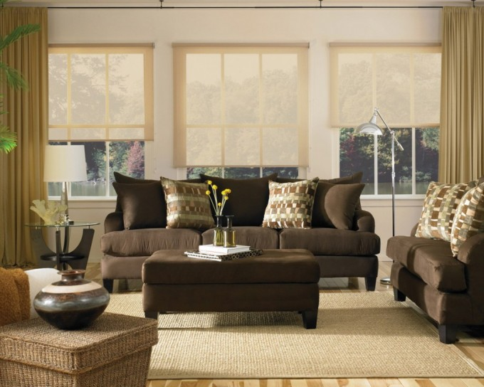 Window Decor With Levolor Blinds On White Wall Plus Brown Sofa On Wheat Carpet For Living Room Decor Ideas
