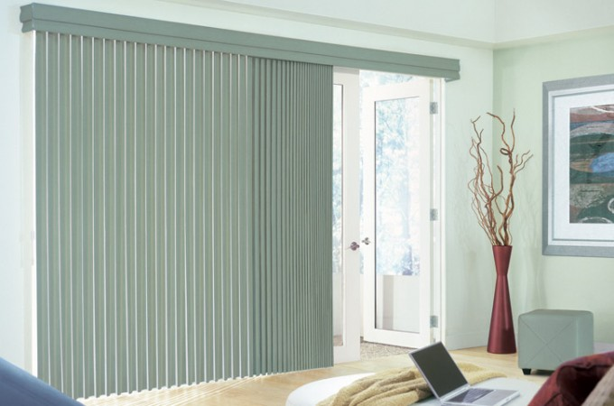 Window With Olive Vertical Levolor Blinds On White Wall For Home Interior Design Ideas