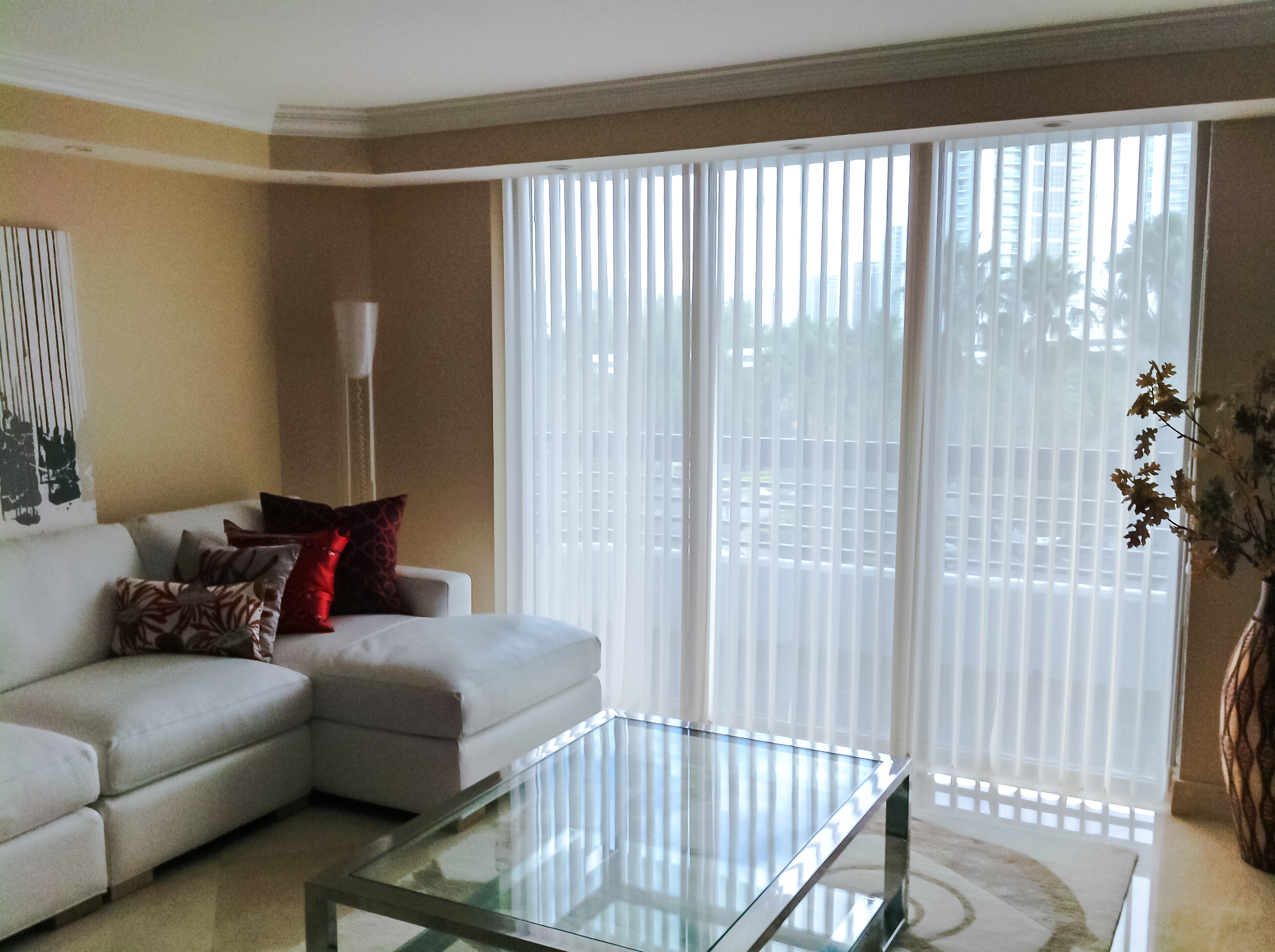 living room window blinds. window with white fabric levolor blinds on tan wall plus sofa set and  glass table Decorating Inspiring Levolor Blinds For Window Decor Ideas