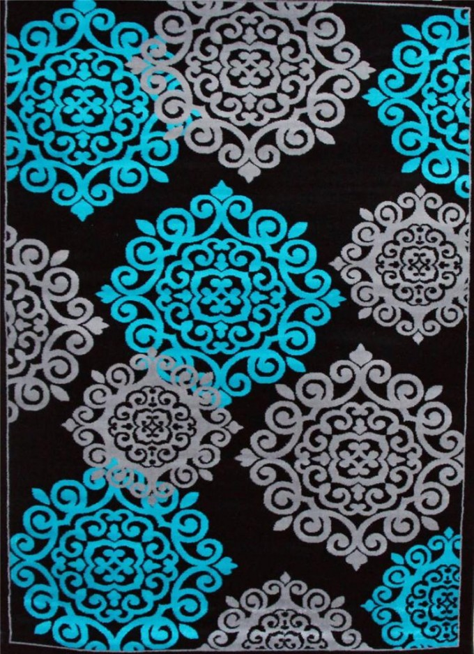 Wonderful 5x7 Area Rugs In Black With Light Blue Motif For Floor Decor Ideas