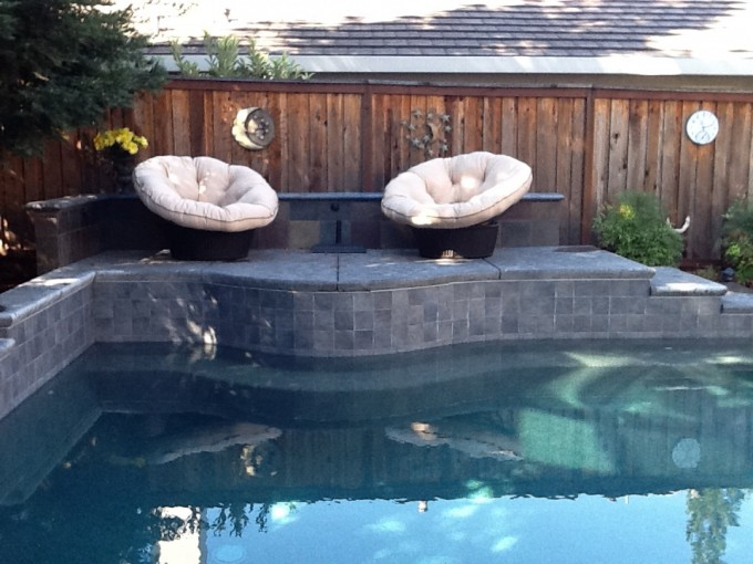 Wonderful Patio Decor With Outdoor Papasan Chair With White Cushion Seat Plus Swimming Pool Ideas