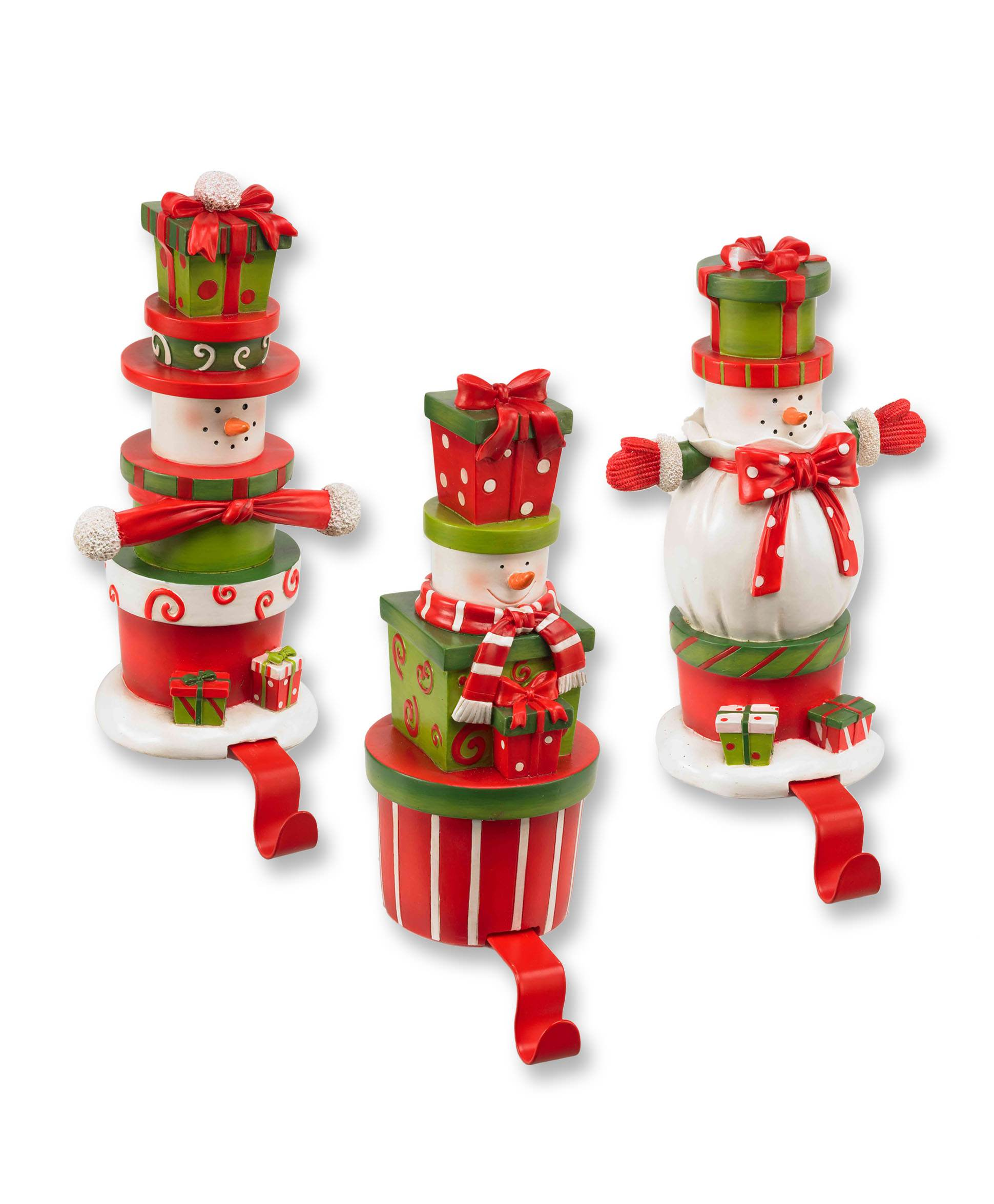 wonderful Snowman christmas stocking hanger set ideas