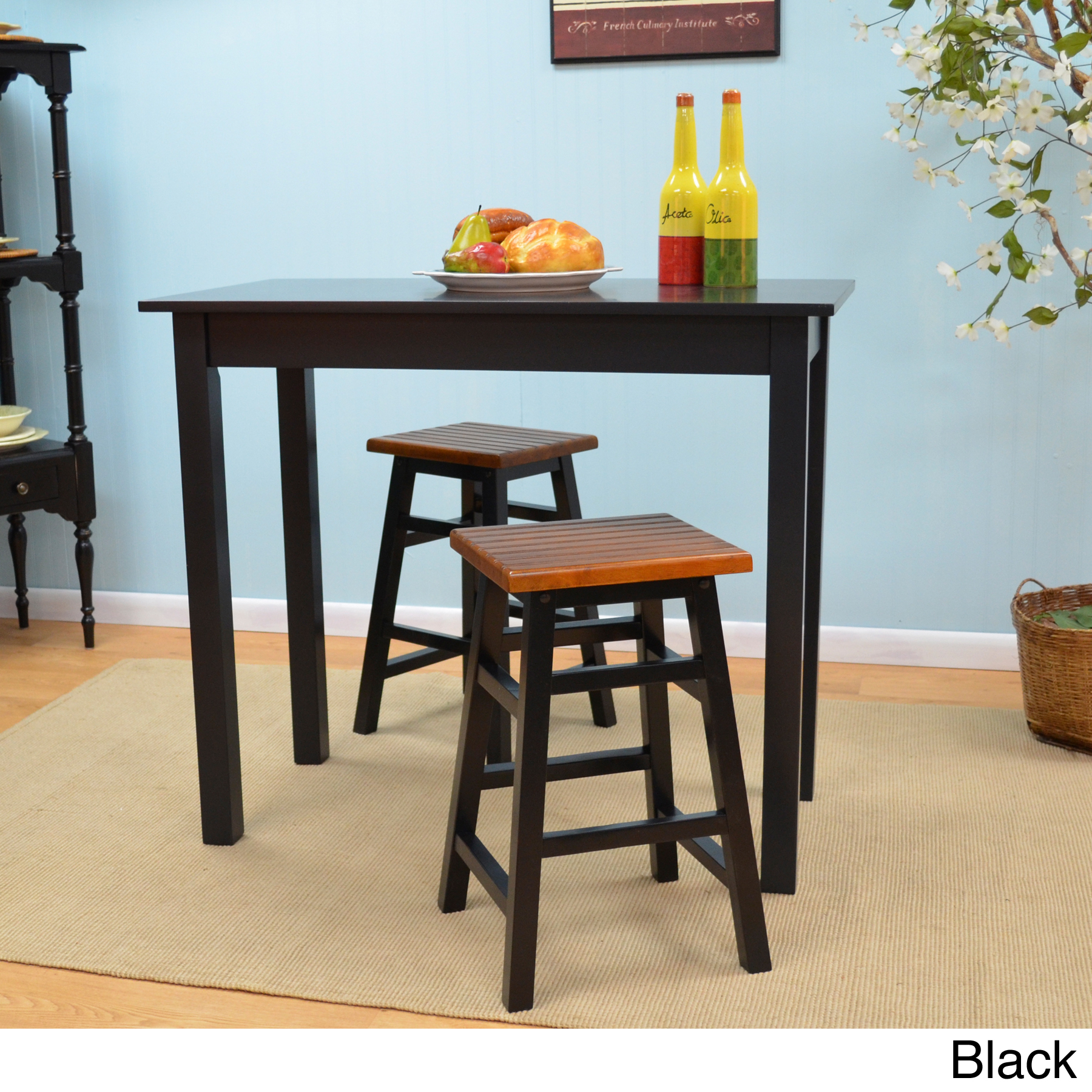 Dining Room Wooden 24 Inch Counter Stools In Black With Brown