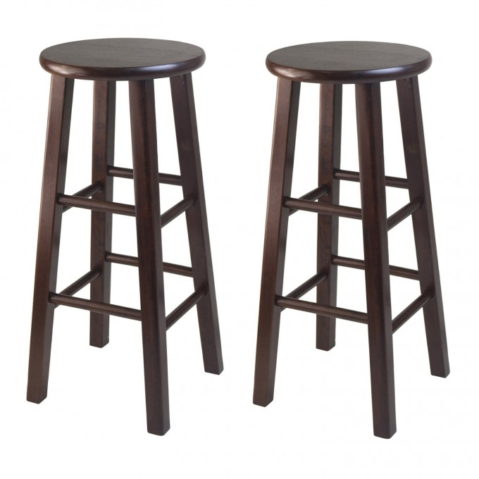 Wooden 24 Inch Counter Stools In Dark Brown For Home Furniture Ideas