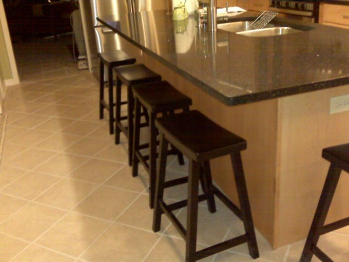 Wooden 24 Inch Counter Stools In Dark Brown On Cream Ceramics Floor Plus Bar Table For Kitchen Decor Ideas
