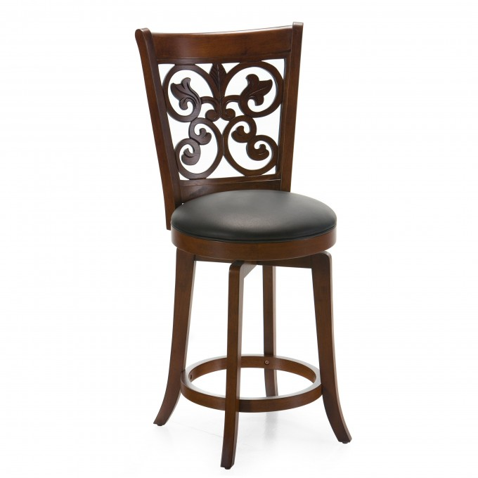 Wooden 24 Inch Counter Stools With Ornament On Back For Home Furniture Ideas