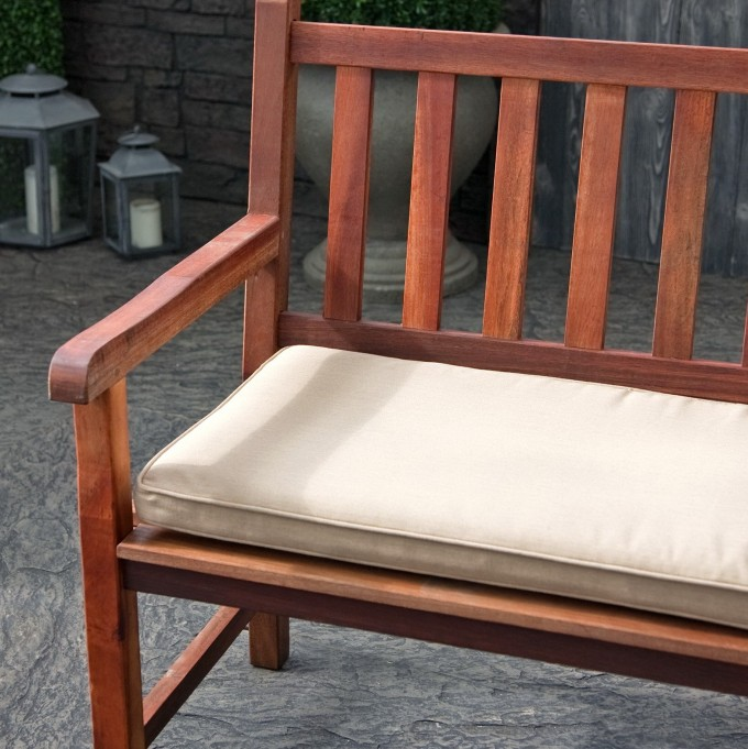 Wooden Bench With White Sunbrella Cushions For Home Furniture Ideas