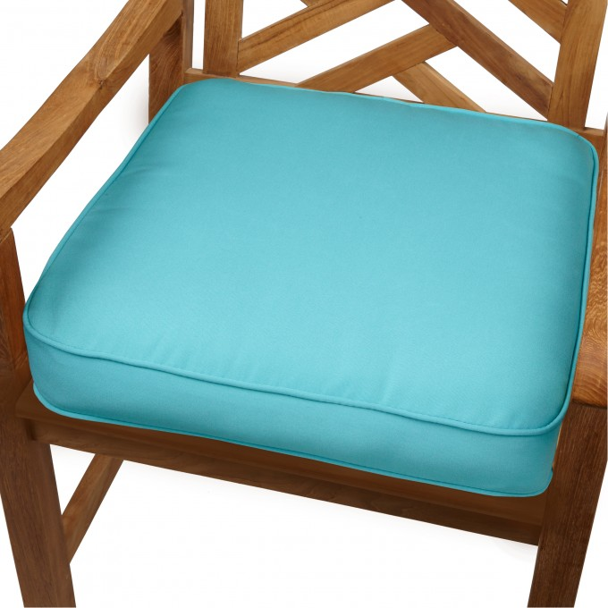 Wooden Chair With Square Sunbrella Cushions In Blue For Home Furniture Ideas