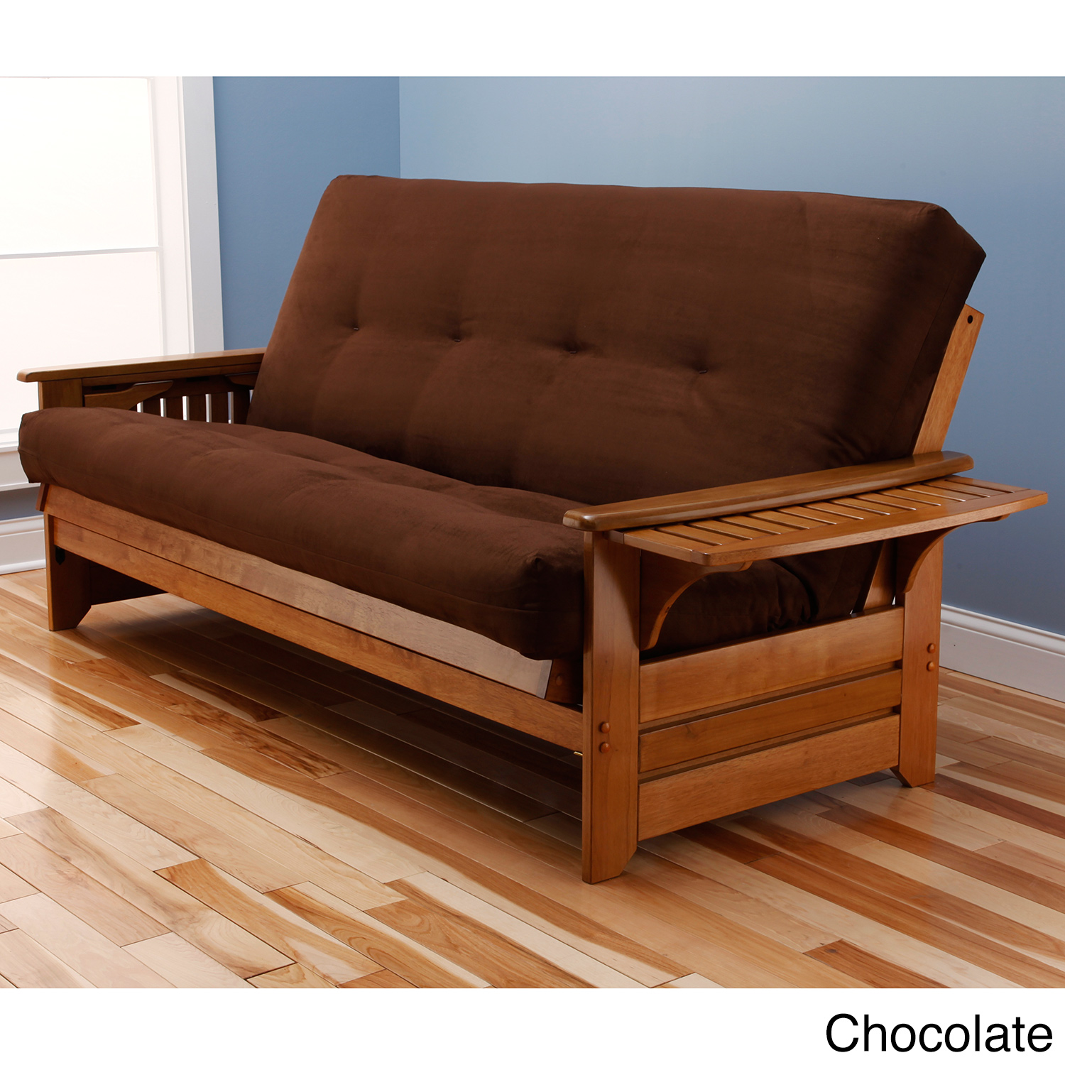 Wooden Cheap Futons In Dark Brown With Arm On Wooden Floor Matched With Blue Wall For Home Decor Ideas